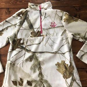 Real tree white camo fleece pull over